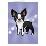 Cartoon Boston Terrier Greeting Card