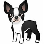 Cartoon Boston Terrier Photo Sculpture Magnet