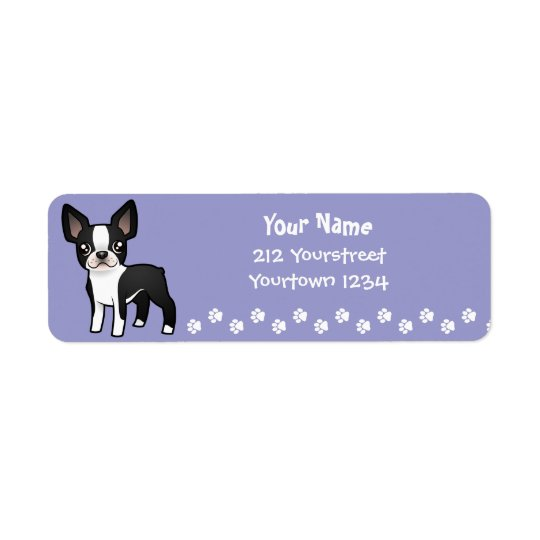 Cartoon Boston Terrier Return Address Label