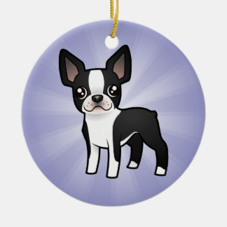 Cartoon Boston Terrier Round Ceramic Decoration