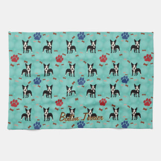 Cartoon Boston Terrier Tea Towel