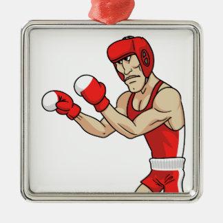 cartoon boxer Silver-Colored square decoration