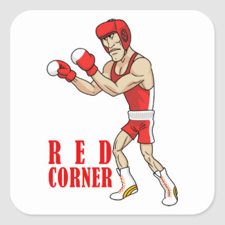 cartoon boxer square sticker
