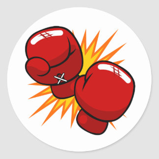 Cartoon Boxing Gloves Classic Round Sticker