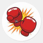 Cartoon Boxing Gloves Round Sticker