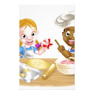 Cartoon Boy and Girl Baking Personalised Stationery