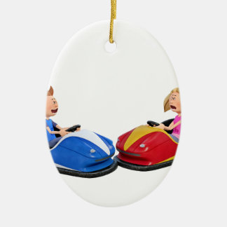 Cartoon boy and girl in Bumper Cars Christmas Ornament