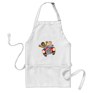 Cartoon Boy and Girl In Car Standard Apron