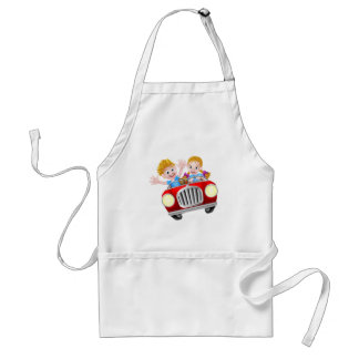 Cartoon Boy and Girl in Fast Car Standard Apron