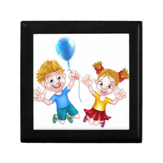 Cartoon Boy and Girl Jumping with Balloon Small Square Gift Box