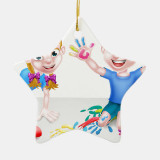 Cartoon Boy and Girl with Car and Paints Ceramic Star Decoration