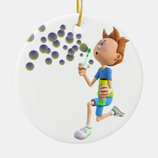 Cartoon boy blowing bubbles christmas ornament