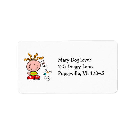 Cartoon Boy feeding dog Label Address Label