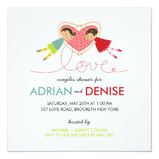Cartoon Boy Girl Love Heart Couples Wedding Shower 13 Cm X 13 Cm Square Invitation Card