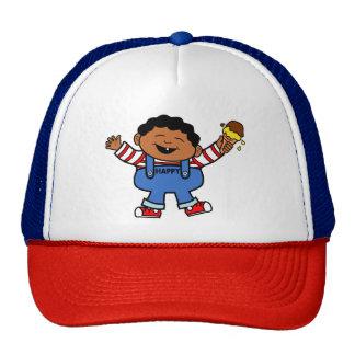 Cartoon Boy Holding Ice Cream Cap