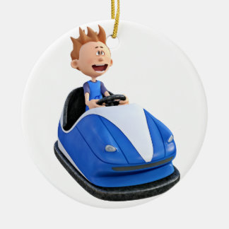 Cartoon boy in a bumper car round ceramic decoration