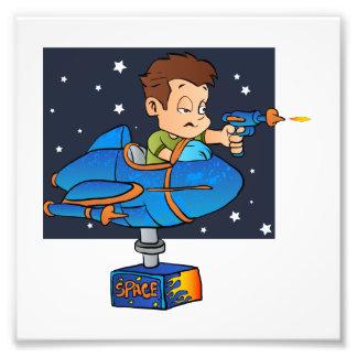 Cartoon Boy in imaginary Rocket Photo Art