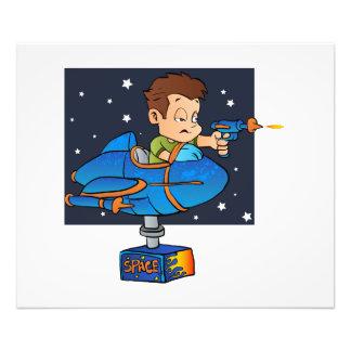 Cartoon Boy in imaginary Rocket Photo Print