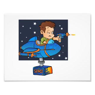 Cartoon Boy in imaginary Rocket Photographic Print