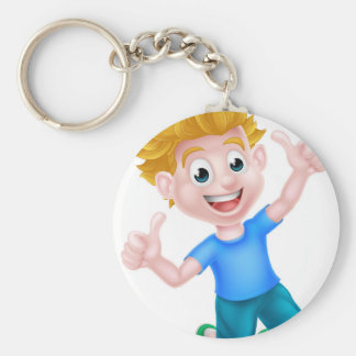 Cartoon Boy Jumping Thumbs Up Basic Round Button Key Ring