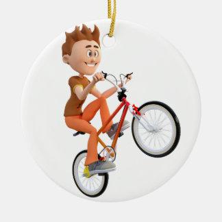 Cartoon Boy on Bike Doing A Wheelie Christmas Ornament