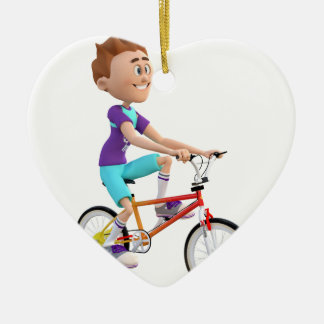 Cartoon Boy Riding A Bike Christmas Ornament
