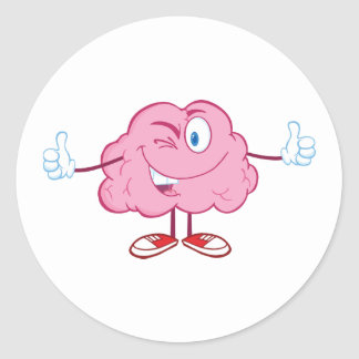 Cartoon Brain Character Stickers