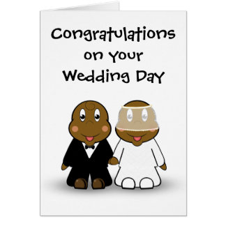 Cartoon Bride and Groom Wedding Congratulations Card