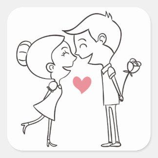 Cartoon Bride & Groom Black & White Pink Wedding Square Sticker
