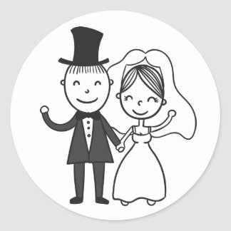 Cartoon Bride & Groom Just Married Wedding Classic Round Sticker