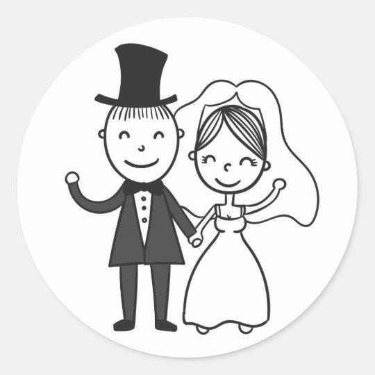 Cartoon Bride & Groom Just Married Wedding Classic