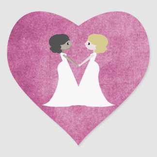 Cartoon brides heart sticker