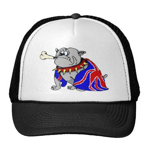 Cartoon British Bulldog with Union Jack Trucker Hat