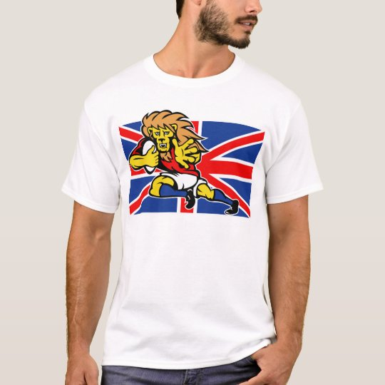 Cartoon British Lion rugby fending off GB flag T-Shirt