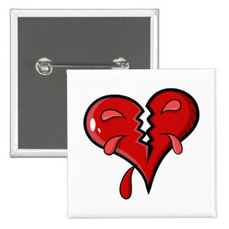 Cartoon Broken Hearted Design 15 Cm Square Badge