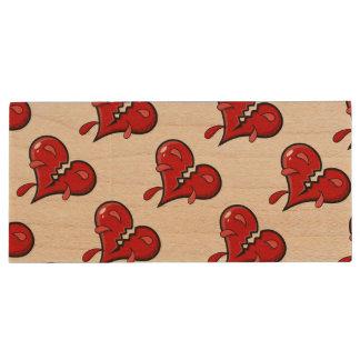 Cartoon Broken Hearted Design Wood USB 2.0 Flash Drive