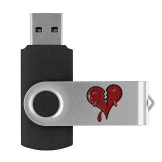 Cartoon Broken Hearted Design Swivel USB 2.0 Flash Drive