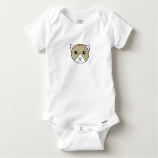 Cartoon Brown-and-White Tabby Kitten Bodysuit
