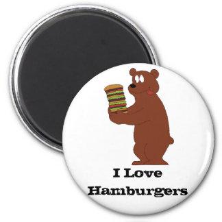 Cartoon Brown Bear With Huge Hamburger Magnet