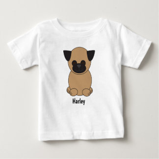 Cartoon Brown Pug Dog Personalise Baby T-Shirt