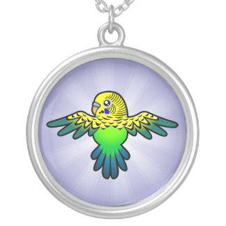 Cartoon Budgie Round Pendant Necklace