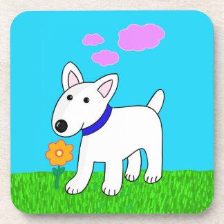 Cartoon Bull Terrier Dog w Flower 6 Coaster Set