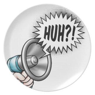 Cartoon Bullhorn Speech Bubble Plate