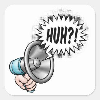 Cartoon Bullhorn Speech Bubble Square Sticker