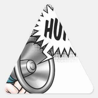 Cartoon Bullhorn Speech Bubble Triangle Sticker