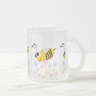 Cartoon Bumble Bee and Flowers Mugs
