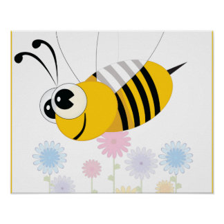 Cartoon Bumble Bee and Flowers Posters