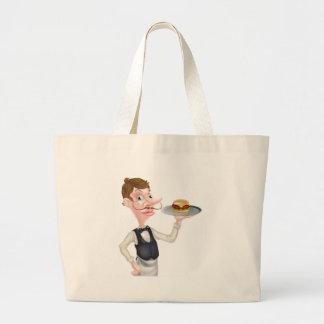 Cartoon Burger Waiter Large Tote Bag