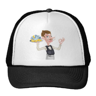 Cartoon Butler Holding Fish and Chips Cap