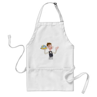 Cartoon Butler Holding Fish and Chips Standard Apron